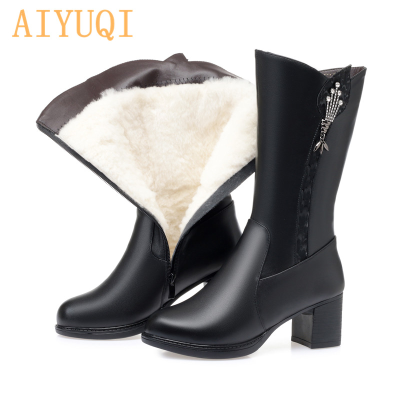 Snow Boots Women Winter Martin Boots Female Short Boots Genuine Leather Wool Large Size Rhinestone High Heel Ladies' winter boot