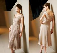 2020 Champagne Off the Shoulder Mother of the Bride Dresses Knee length Prom Formal Gowns With Capped Appliques robe de soriee