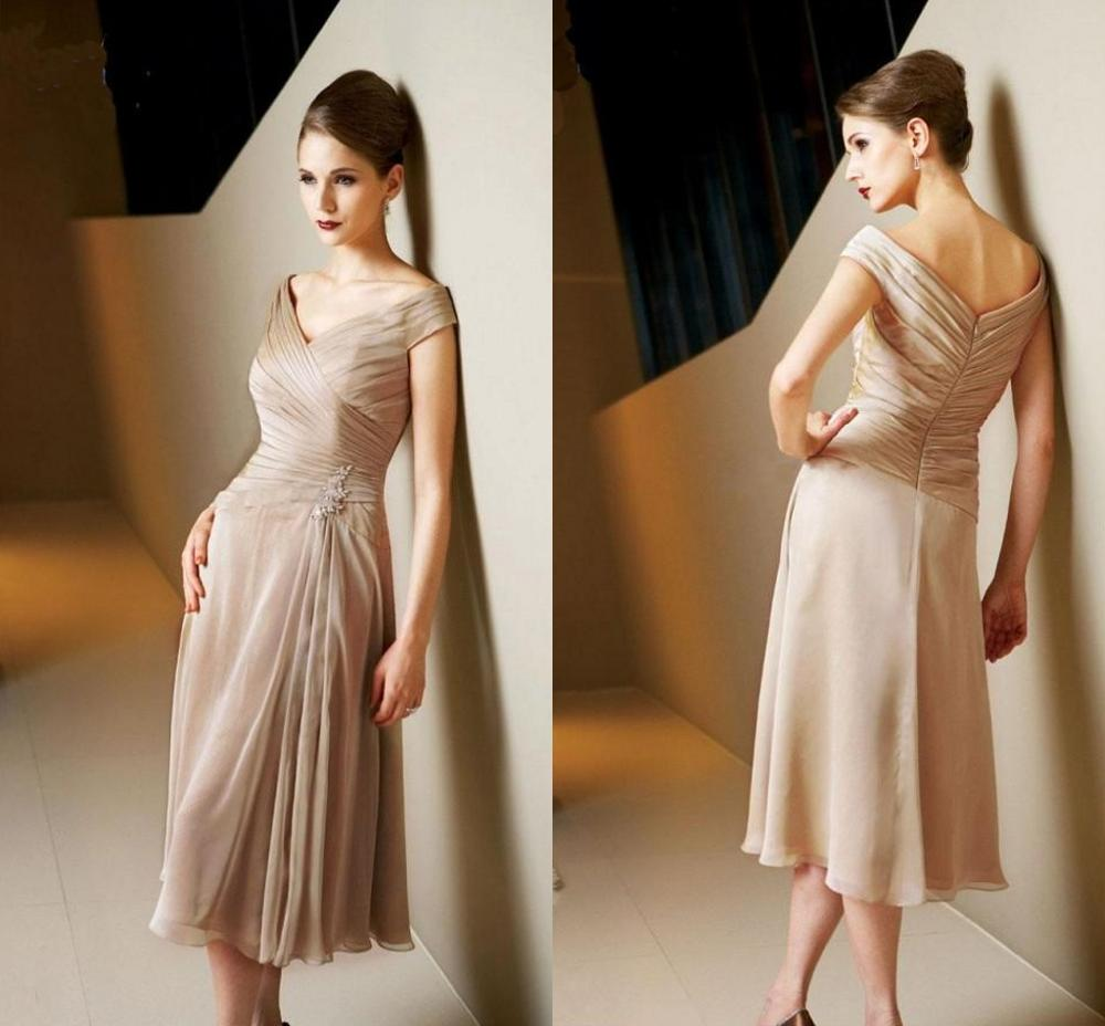 2020 Champagne Off-the-Shoulder Mother of the Bride Dresses  Knee-length Prom Formal Gowns With Capped Appliques robe de soriee