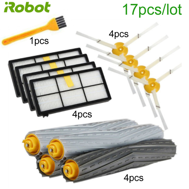17PCSหุ่นยนต์เครื่องดูดฝุ่นHEPA FILTERแปรงด้านข้างชุดอะไหล่สำหรับiRobot Roomba 900 980 960 800 850 860 อะไหล่ชุด