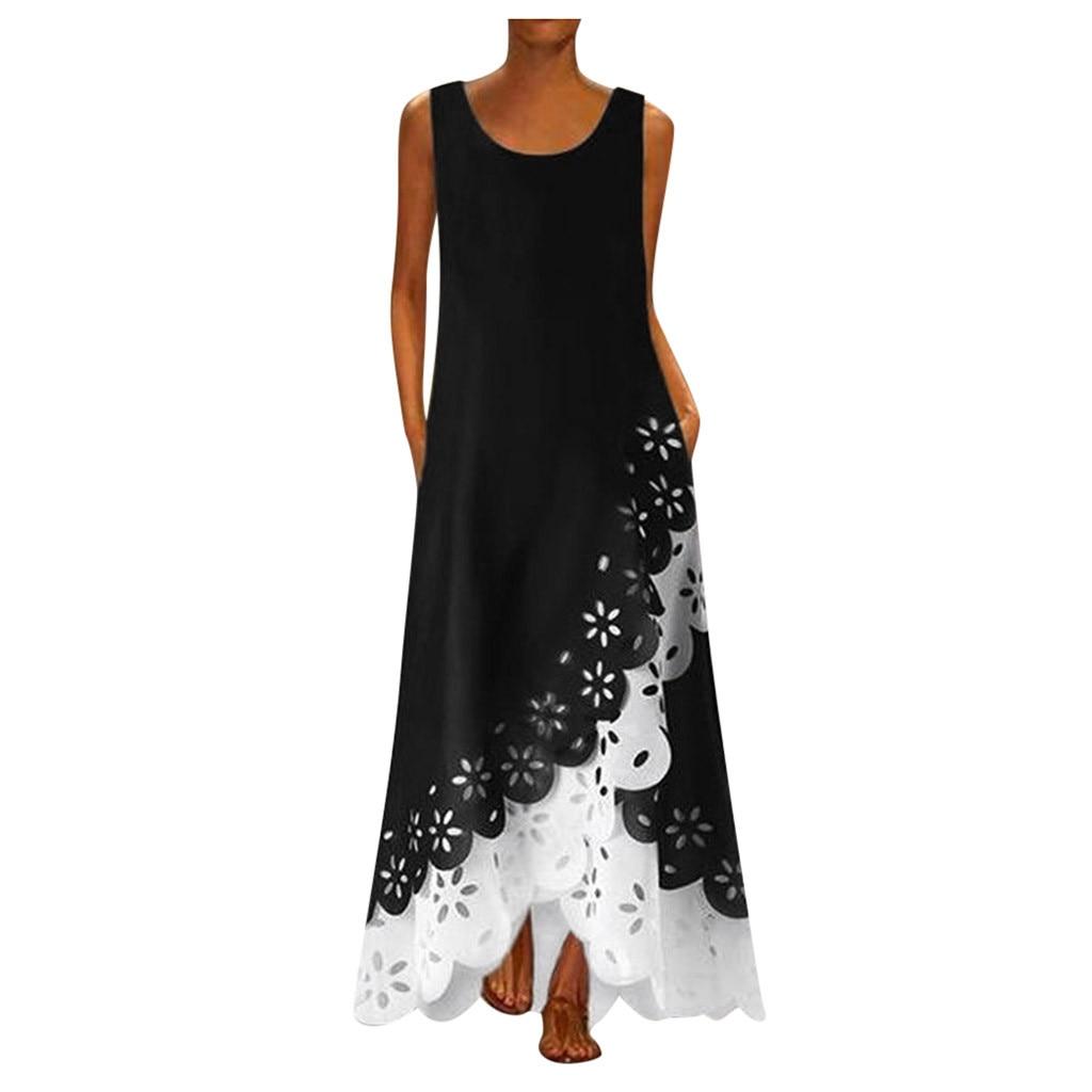 Plus Size Summer Party Dress Vintage Sleeveless Women Long Dresses Woman Party Night Ladies Dress Vestidos 2019 Mujer on AliExpress