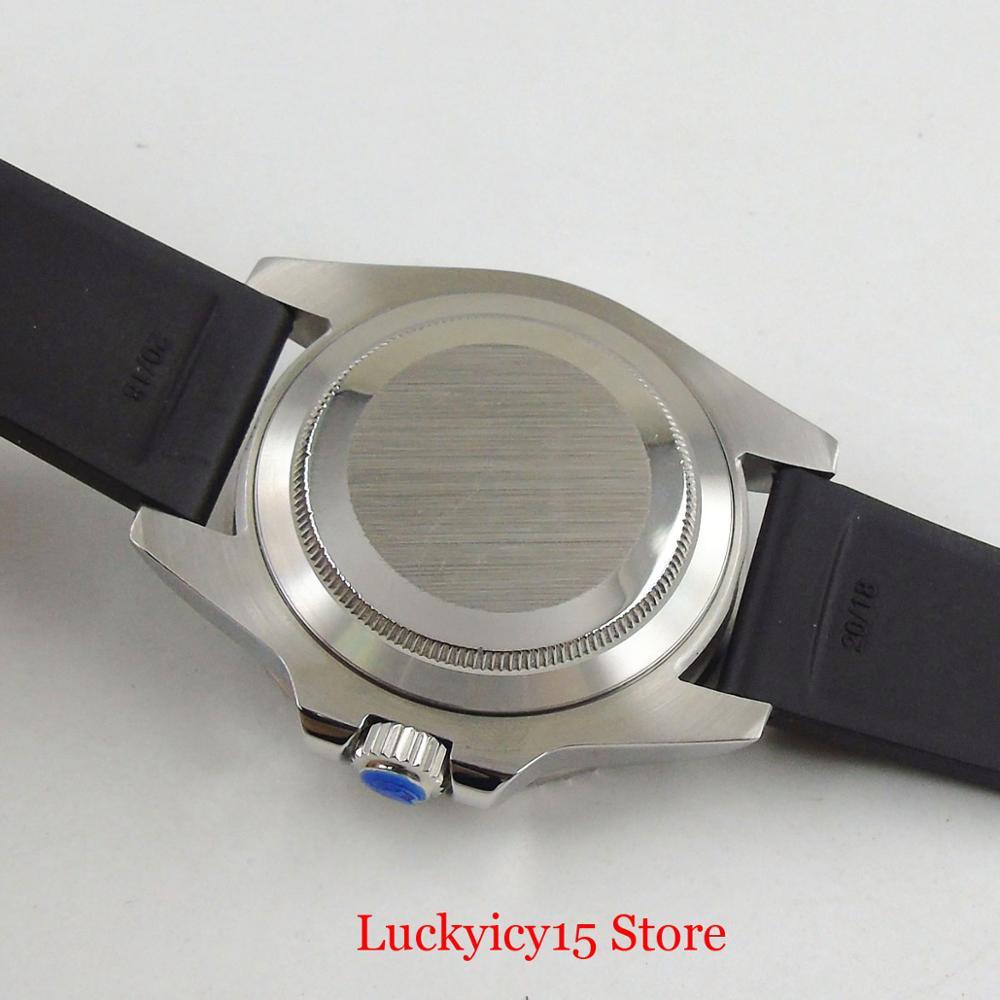 Parnis estilo de negócios prata 40mm relógio automático men sapphire vidro rotativo moldura mingzhu movimento cinta borracha - 6
