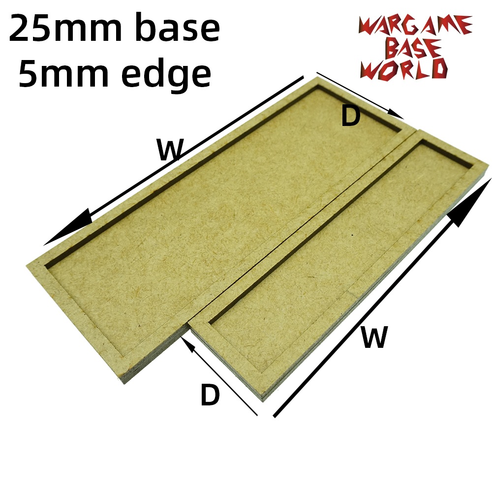 Wargame Base World - MDF Wargame Movement Tray - 25mm Bases With 5mm Edge