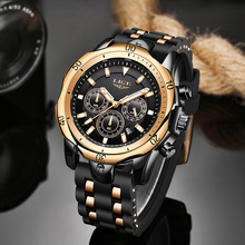 2020 LIGE Mens Watches Top Brand Luxury Dial Clock Male Fashion Silicone Waterproof Quartz Gold Watc