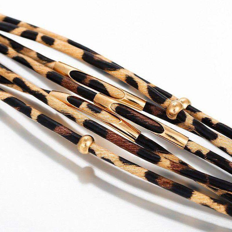 Bracelet en cuir à mémoire de forme léopard Bracelet multicouche Bracelet large pour femmes Y4QB