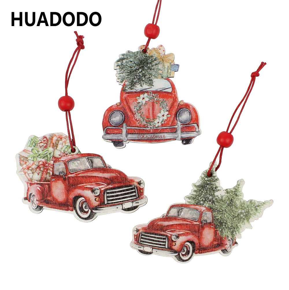 HUADODO 3Pcs Christmas Truck Wooden Pendants Ornaments  For Christmas Tree Ornament New Year Decoration Party Kid Toys