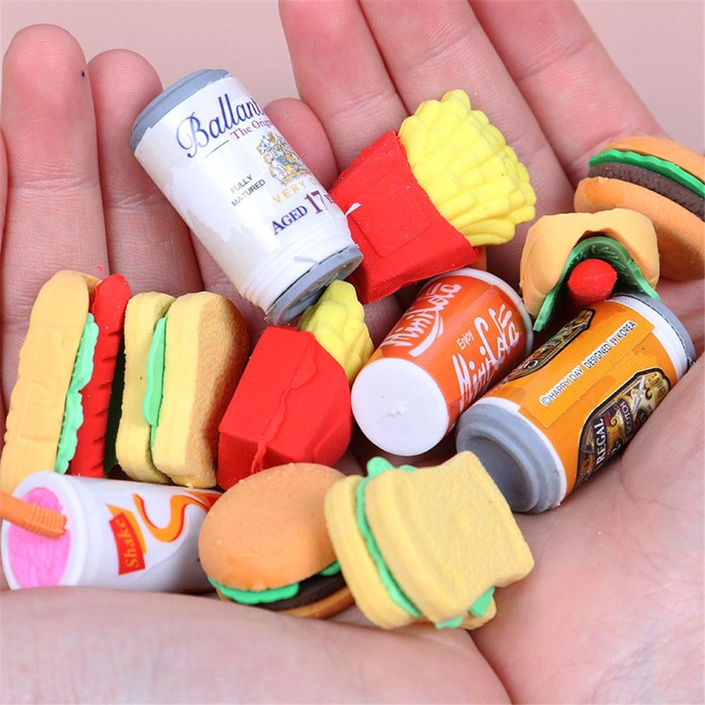 2pcs Kawaii Eraser Hamburger Cake Coke Food French Fries Hot Dog School Office Correction Erase Supplies Stationery Kids Gift