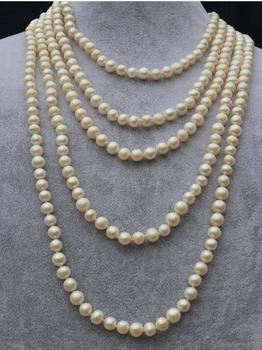 Unique Pearls jewellery Store 100 inches Long Pearl Necklace 7-8mm White Round Genuine Freshwater Pearl Necklace Fine Jewelry