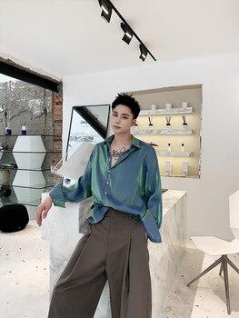 Shirt man languid lazy wind long sleeve loose artistic temperament Korean version of silk satin thin through.
