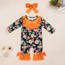 Toddler Baby Kids Girls Fall clothes girls halloween outfits pumpkin Striped Ruched Jumpsuit Romper Clothes(China)