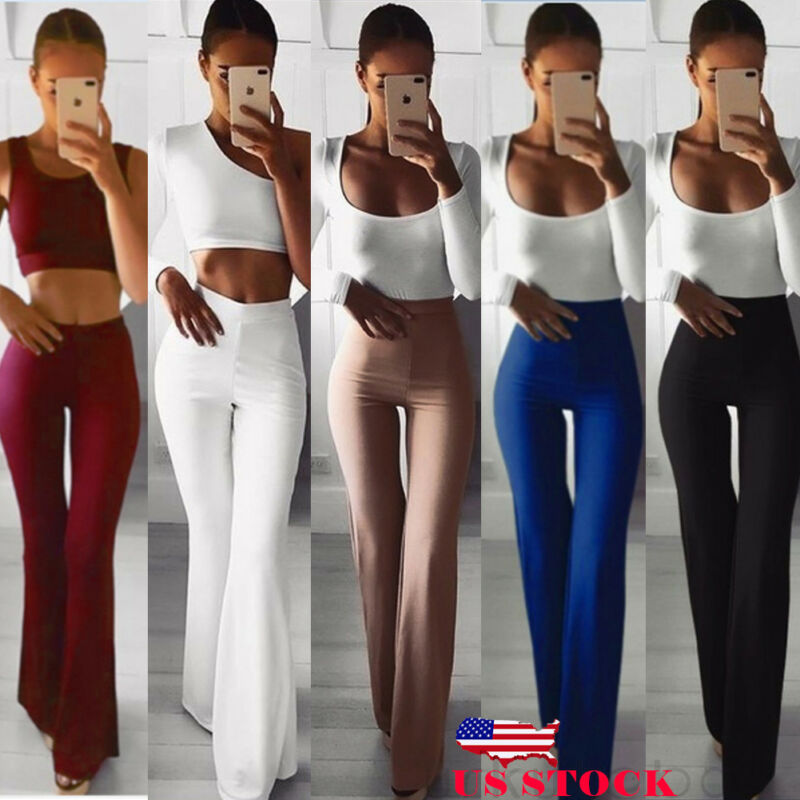 Women Pants Solid High Waist Flare Wide Leg Chic Trousers Bell Bottom Pants