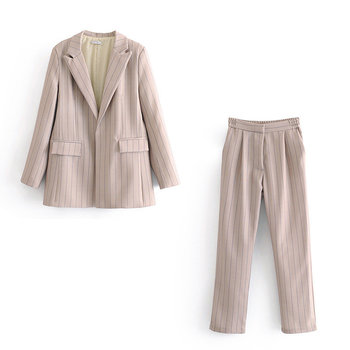Autumn women's suit pants suit Fashion casual loose striped long sleeve ladies jacket small suit Two-piece temperament trousers striped trim raglan sleeve jacket