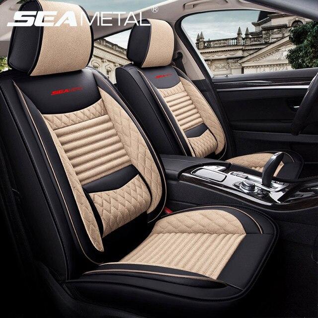 SEAMETAL רכב מושב מכסה אוניברסלי פשתן כיסוי עור מושב מכסה מגן מותג יוקרה עיצוב עם קדמי מושב משענת כרית