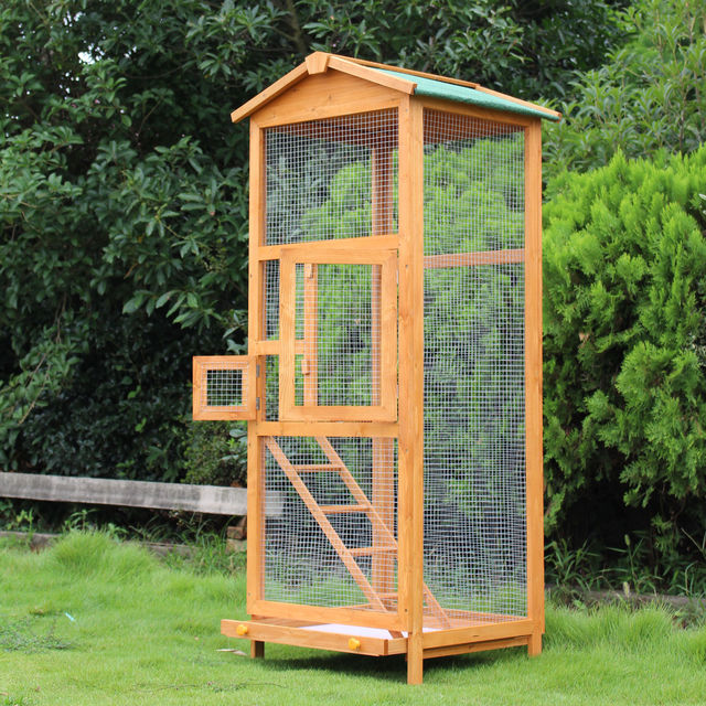 PawHut Bird Cage Large Parrot for Wooden Garden 68 × 63 × 165 cm 3