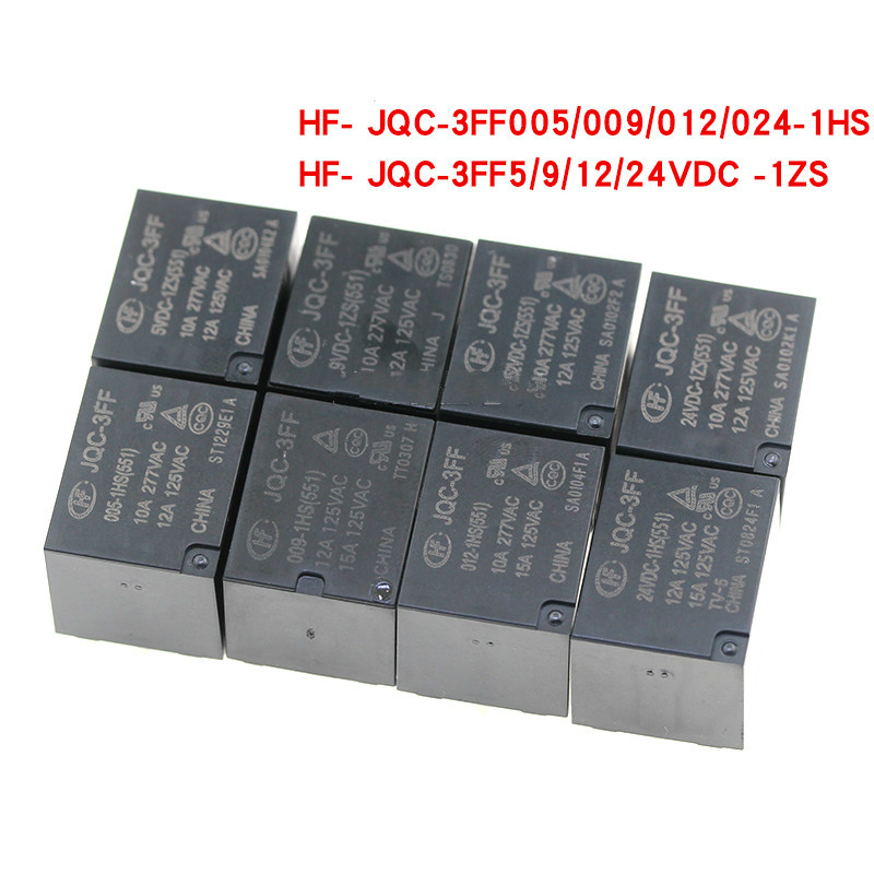 10A HF3FF-JQC-3FF 005 012 024-1ZS Power Relays PCB SPDT 5 Pins General Purpose