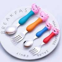 Estilos de moda Peppa Pig vajilla de bebé patrón de dibujos animados tenedor y cuchara conjunto MODELO DE figura de acción niños fiesta regalo