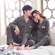 BZEL Conjunto de pijamas a cuadros para hombre y mujer, Pijama de algodón, ropa de dormir para parejas, ropa de noche para casa