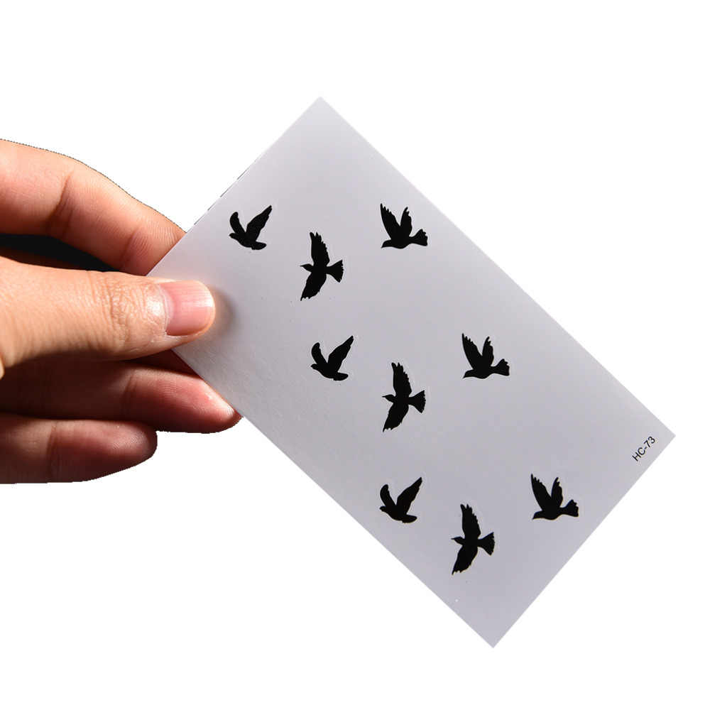 น่ารัก Swallow BIRD Feather ชั่วคราวสติกเกอร์นกน้ำสักผู้หญิงหน้าอกแขน TATTOO ผู้ชาย