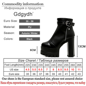 Image 5 - Gdgydh Fashion Zipper Platform Heels Women Ankle Boots Black Female High Heels Leather Shoes Round Toe Ladies Party Shoe Autumn