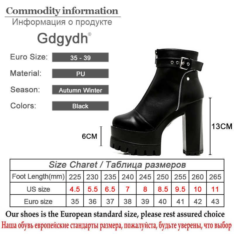 Gdgydh Mode Rits Platform Hakken Vrouwen Enkel Laarzen Zwarte Vrouwelijke Hoge Hakken Lederen Schoenen Ronde Neus Dames Party Schoen Lente
