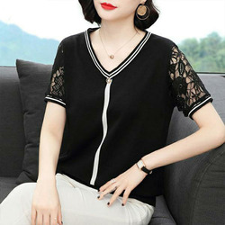 Women's Plus Size Spring Autumn Style Hollow Out Tees Women's Knitting V-Neck Casual Sweet Short Sleeve Tops 5XL 6XL
