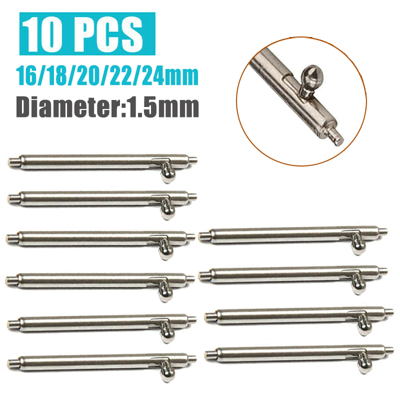 16/18/20/22/24mm Watch Bands Strap Spring Bars Pins 10pcs 1.5mm Quick Release Stainless Steel Spring Bars Watch Repair Tool