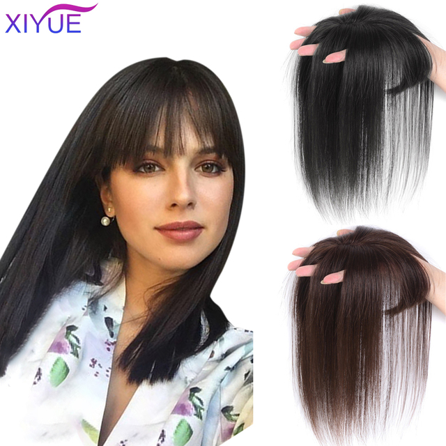 3D Bangs Invisible Seamless Head Hair Water Ripple Wig Air Bangs Head Overhead Natural Invisible Replacement Cover White Hair