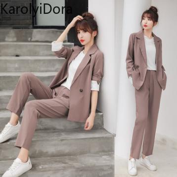 Women's Suit 2020 Summer New Women Trousers Suit Long Sleeve Blazer Casual Pants Suit Jacket Coat Loose Office Lady 2 Piece Set
