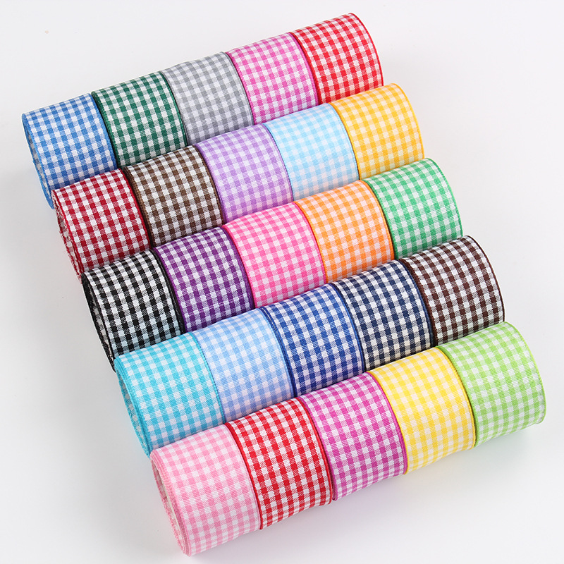 5 Meters/Pack Lattice Plaid Ribbon DIY Bow Crafts Supplies Satin Grosgrain Girls Hair Accessories Christmas Decoration
