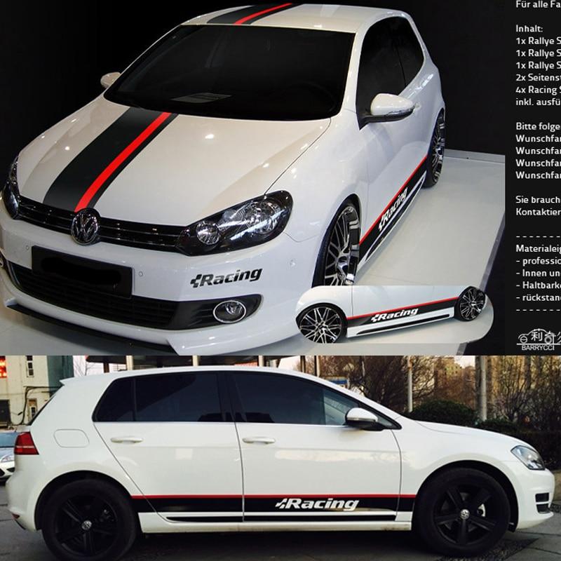 Voiture de sport autocollants Auto carrosserie rayures capot autocollants course rayures Ralliart autocollant pour Golf 7 6 Polo b8 BMW Mk6 4 Mazda Audi