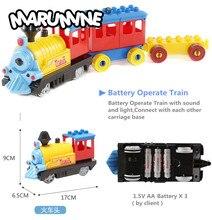 Marumine Funzionamento A Batteria Duplo Treno Giocattoli Blocchi di Costruzione Per Bambini Giocattolo Educativo Del Regalo Treno Elettrico per I Bambini
