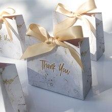 Sac à bonbons marbré gris, boîte-cadeau, boîtes à chocolat en papier, emballage pour cadeau de mariage, fournitures de fête de remerciement pour fête prénatale