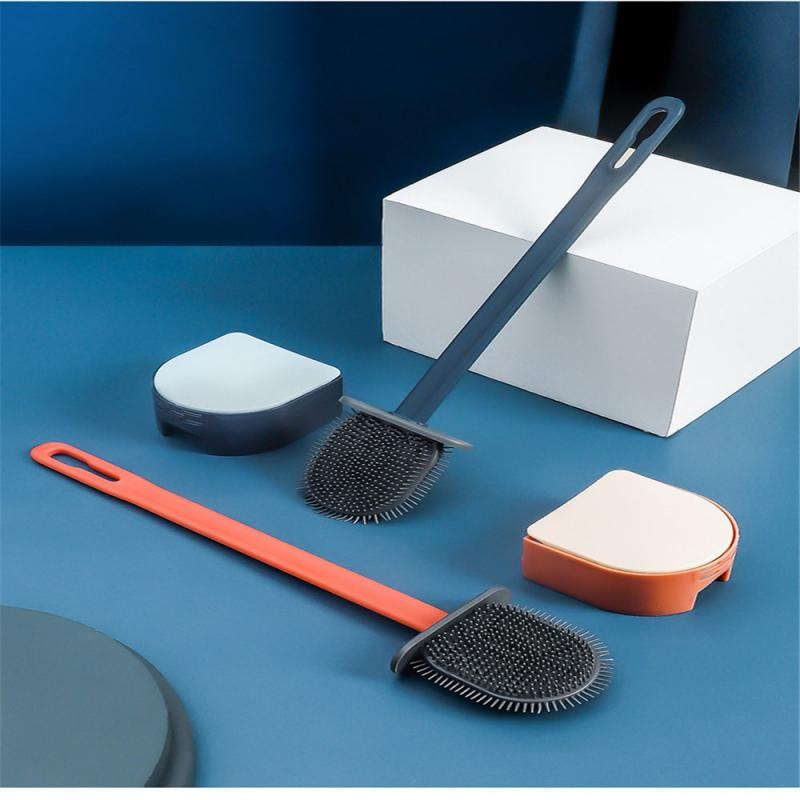 Toilet Brush Holder Sets Wall Hanging Household Floor Standing Bathroom Cleaning Accessories Soft Bristles Head Bathroom