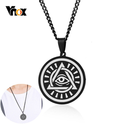 Vnox Mens Eye of Providence Pendant Necklaces Black Stainless Steel Solar Eclipse Design Male Choker Jewelry