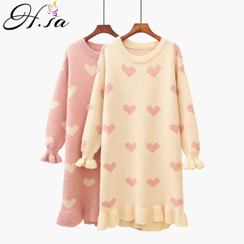 H.SA Women Long Cute Sweater Dresses Flare Sleeve Ruffels Knitwear Sweet Heart Loose Sweater Dress Kawaii Long Knit Dress