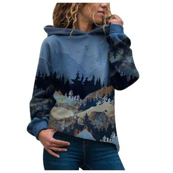 2020 Women's Casual Mountain Print Sweatshirts Thermal Crewneck Long Sleeve Hoodies Loose Black Tracksuit Streetwear clothes 7