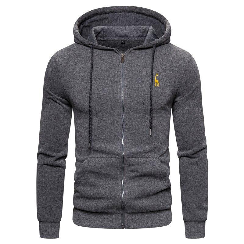 2019 New Autumn Winter Cotton Hoodied Mens Sweatshirts Solid Hoody Fleece Thick Hoodies Men Sportswear Zipper Sweatshirts Men 11
