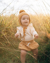 Newborn Kids Baby Girl Clothes Long Yellow Sleeve Tops Linen Shorts Outfits Girls Clothing