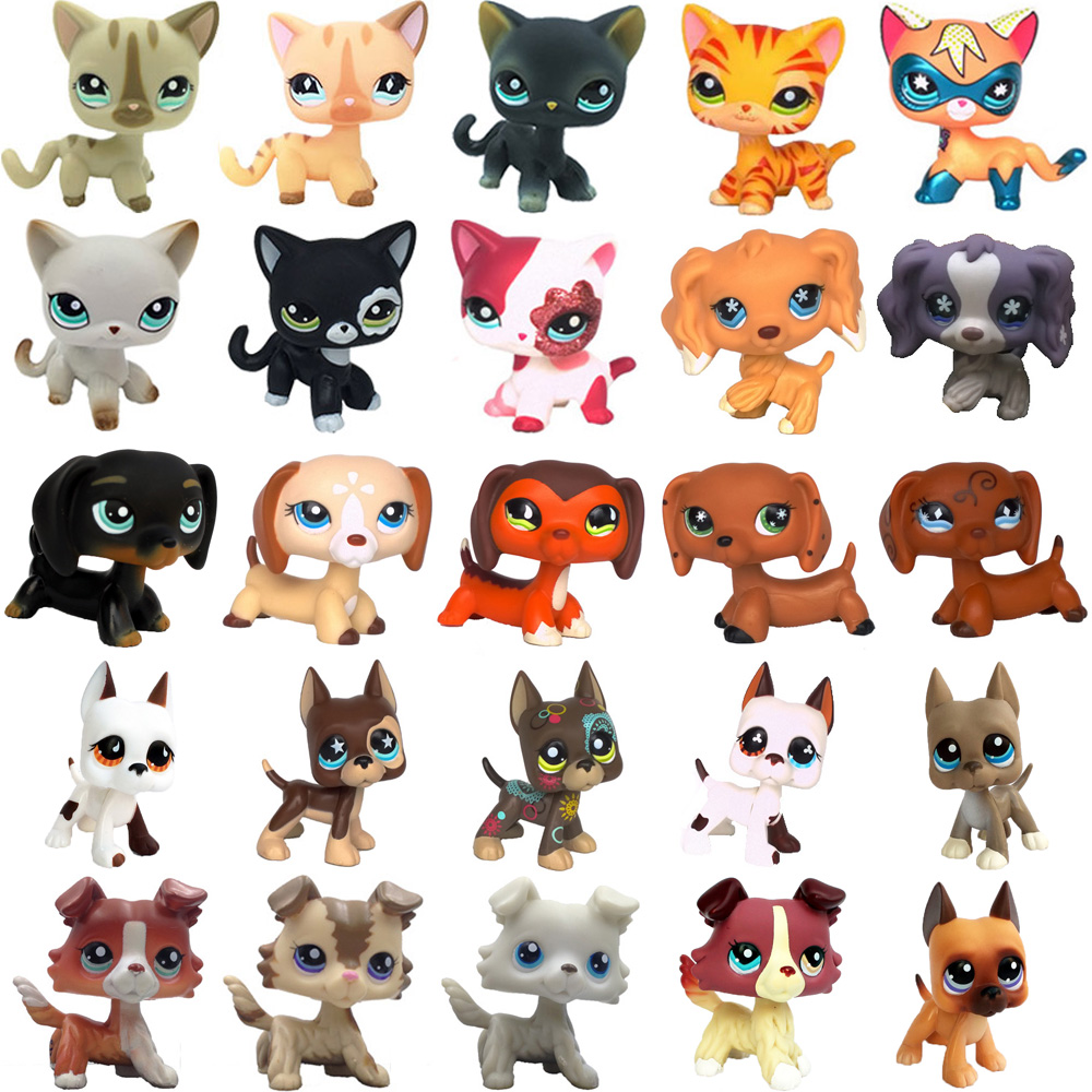 rare old pet shop cute toys cat collection stand short hair kitten dachshund dog collie great dane spaniel original figure
