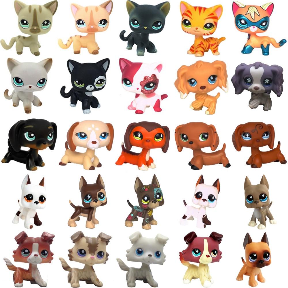 rare old pet shop cute toys cat collection stand short hair kitten dachshund dog collie great dane spaniel original figure