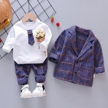 Conjunto de ropa a cuadros para bebé, moda, 3 unidades, abrigo, camiseta Y pantalones de 1 a 4 años