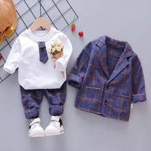 Kid Baby Boy Plaid Suit Clothing Sets Fashion 3PCS Toddler Girls Baby Suit for Boys Coat + T Shirt + Pants 1   4 Y