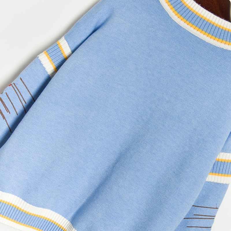 활주로 럭셔리 겨울 뜨개질 Pullovers 여성의 고품질 꽃 크라운 자수 캐주얼 느슨한 블루 스웨터 C-127
