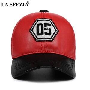 Image 3 - LA SPEZIA אמיתי עור בייסבול כובע גברים נשים כחול שחור טלאים באיכות גבוהה זכר נקבה חורף אבא כובע
