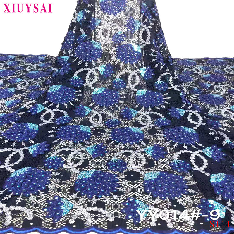 XlUYSAl Latest African Lace Fabric 2020 High Quality African French Net Laces With Sequins Embroidery Tulle Lace S111