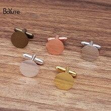 BoYuTe (10 Pieces/Lot) Metal Brass French Cufflinks with 15MM Flat Base Diy Hand Made Cufflink Setti