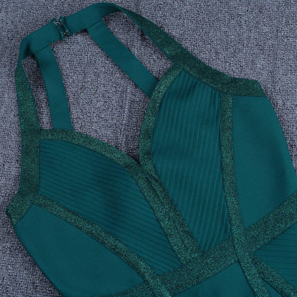 Ocstrade 녹색 붕대 드레스 2020 여성 패션 홀터 Backless 섹시한 붕대 드레스 Bodycon 연예인 이브닝 클럽 파티 드레스