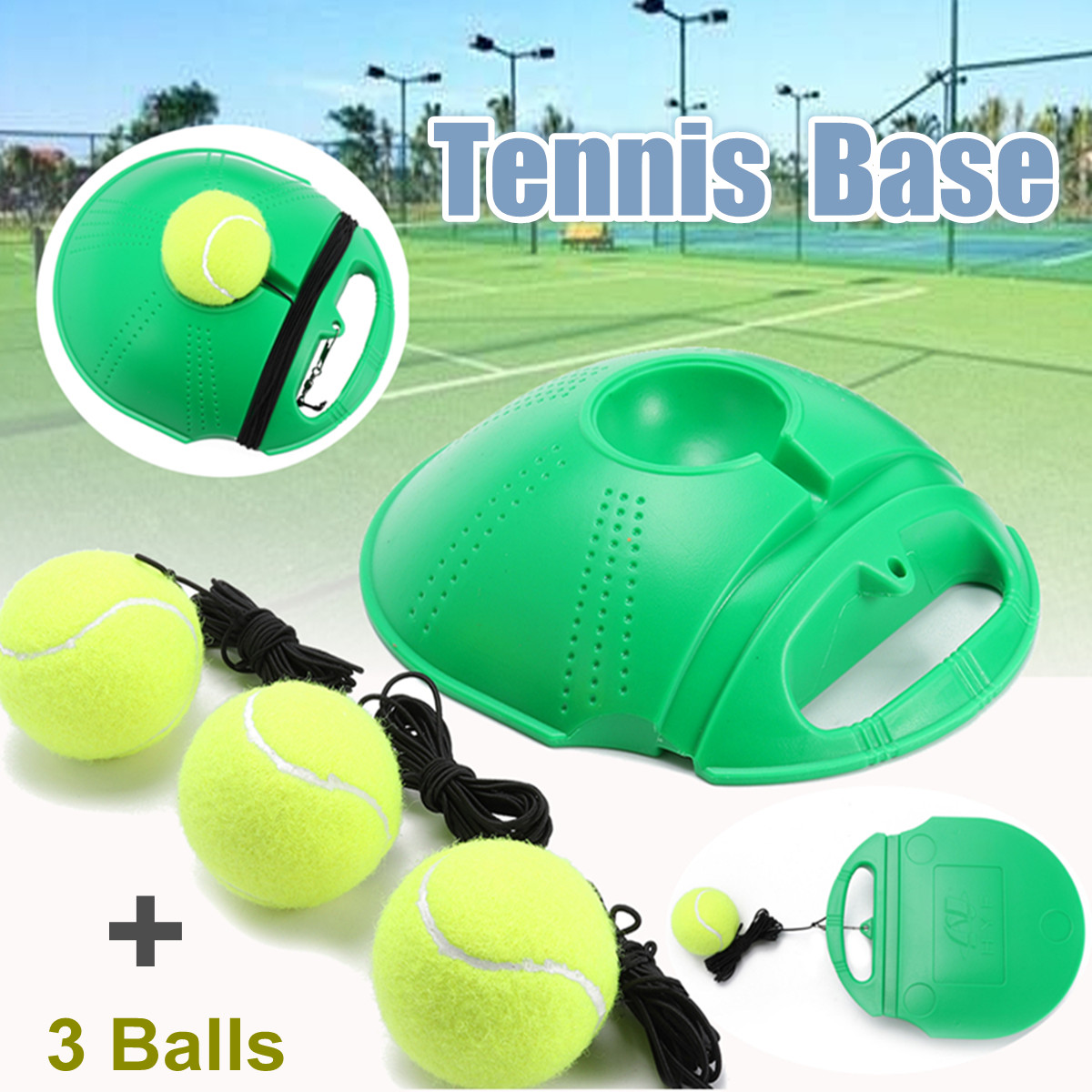 Single Tennis Trainer Self-study Tennis Training Tool Rebound Balls Baseboard Tools Tennis Practice Portable With 3 Balls
