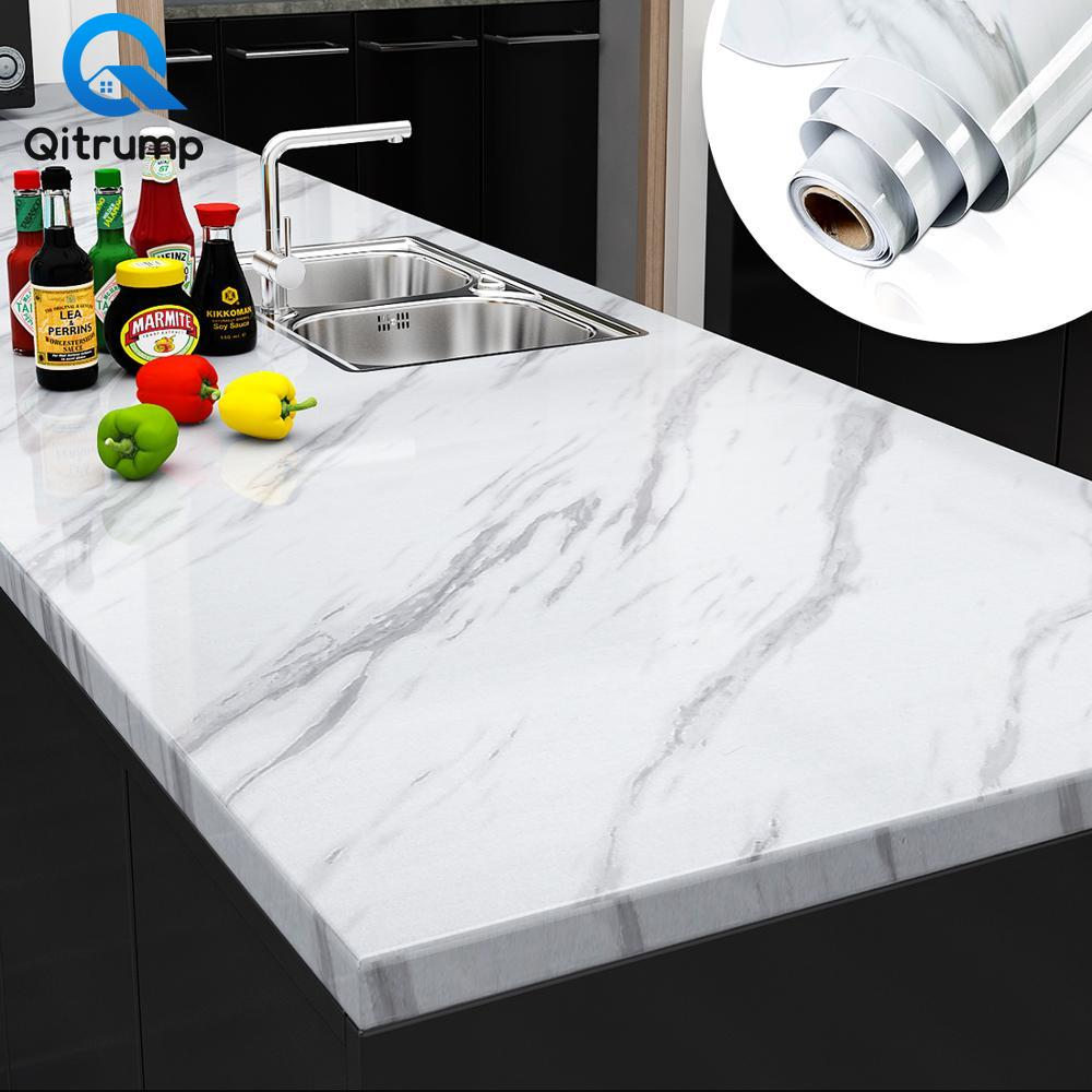 Papel tapiz de película de vinilo de mármol, autoadhesivo, pegatinas de pared impermeables para baño, cocina, muebles, decoración de papel