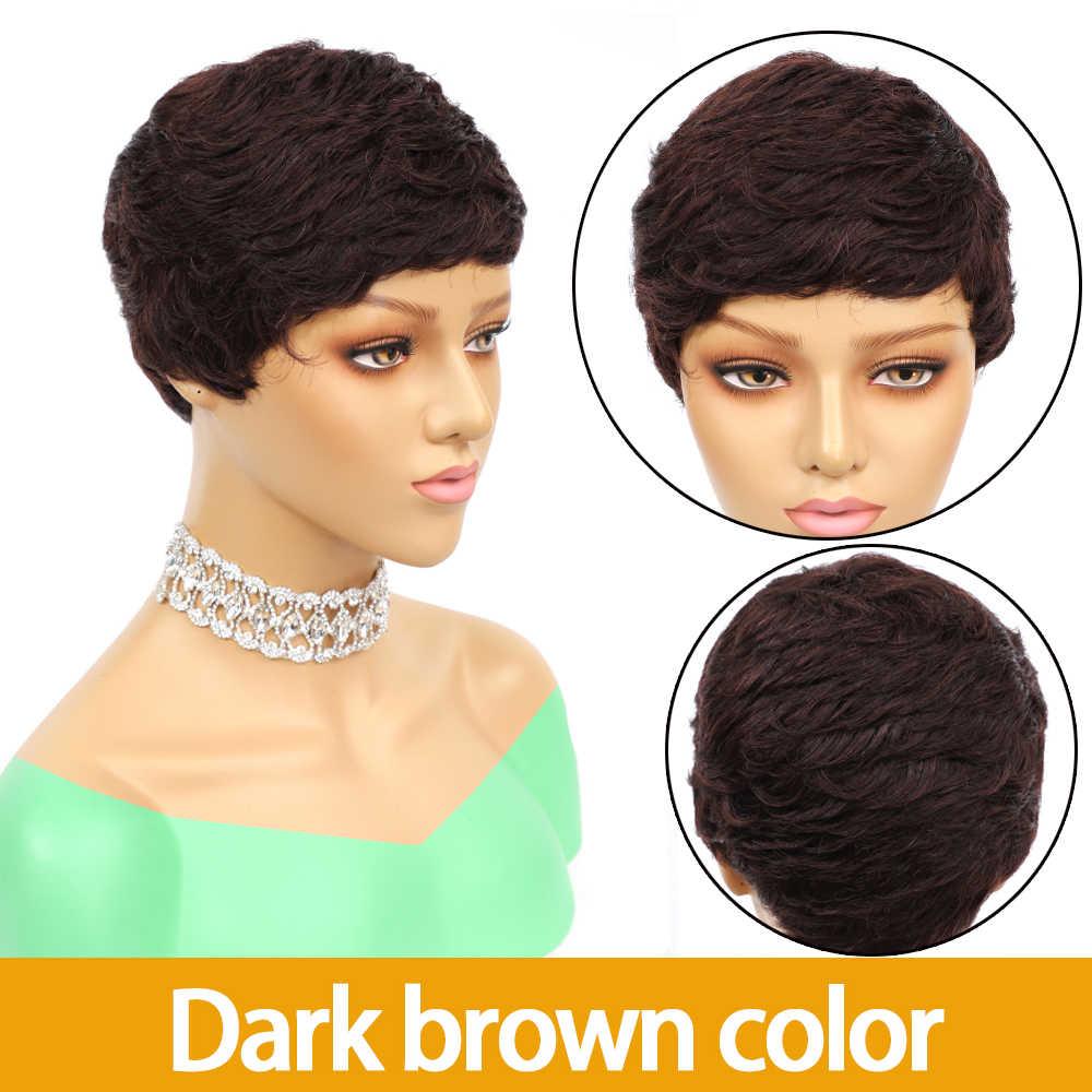 4 #2 #27 # kolor krótki fryzura Pixie peruki 100% ludzki włos peruka maszyna nie koronkowa peruka blond kolor Jarin włosy Remy sprzedaż hurtowa